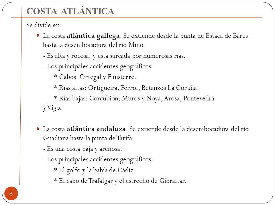COSTA ATLÁNTICA Se divide en: