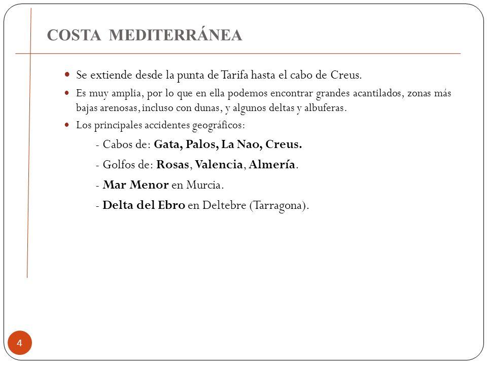 COSTA MEDITERRÁNEA Se extiende desde la punta de Tarifa hasta el cabo de Creus.