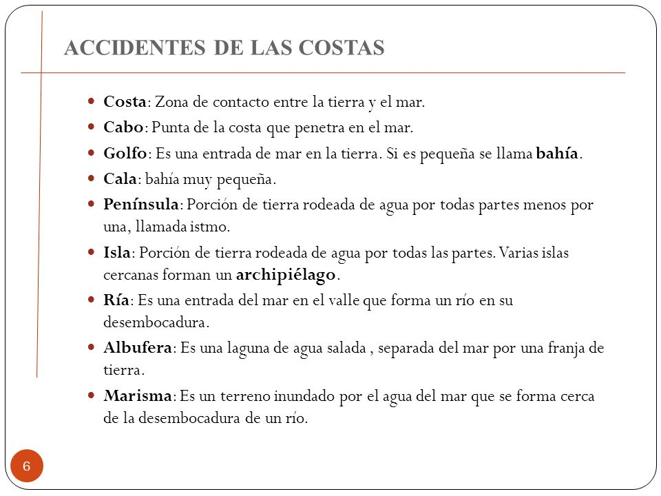 ACCIDENTES DE LAS COSTAS