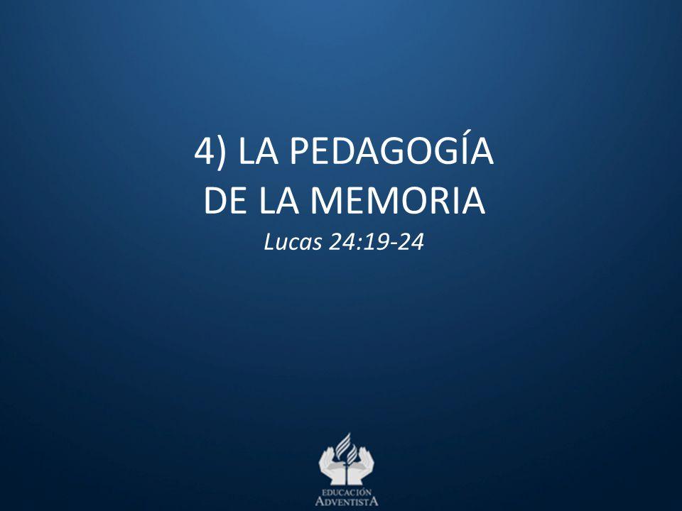4) LA PEDAGOGÍA DE LA MEMORIA Lucas 24:19-24