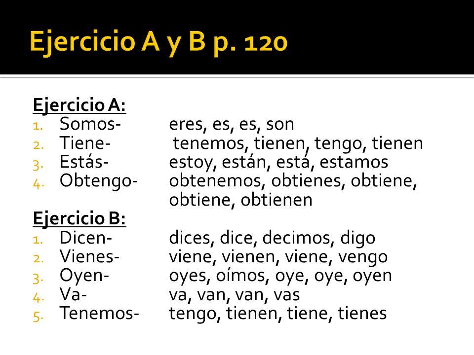 Ejercicio A y B p. 120 Ejercicio A: Somos- eres, es, es, son