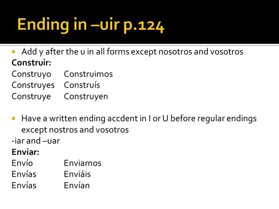 Ending in –uir p.124 Add y after the u in all forms except nosotros and vosotros. Construir: Construyo Construimos.