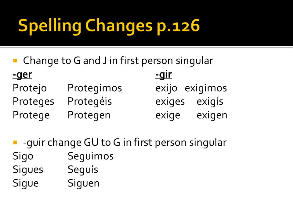 Spelling Changes p.126 Change to G and J in first person singular