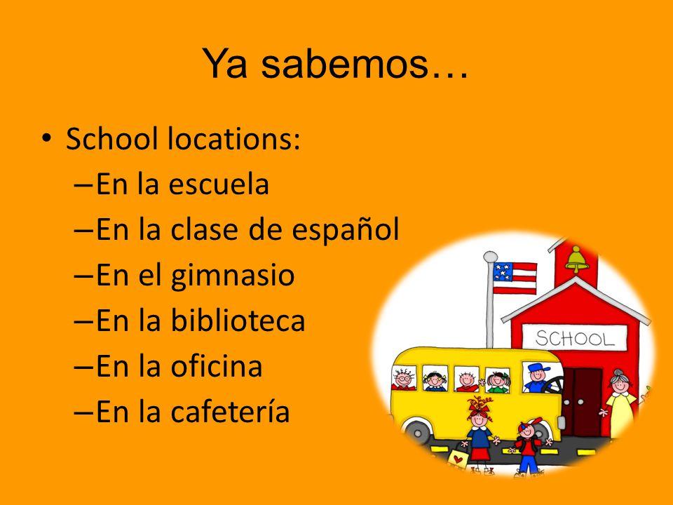 Ya sabemos… School locations: En la clase de español En el gimnasio