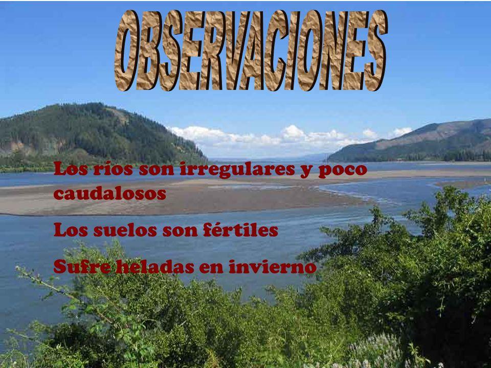 OBSERVACIONES Los ríos son irregulares y poco caudalosos