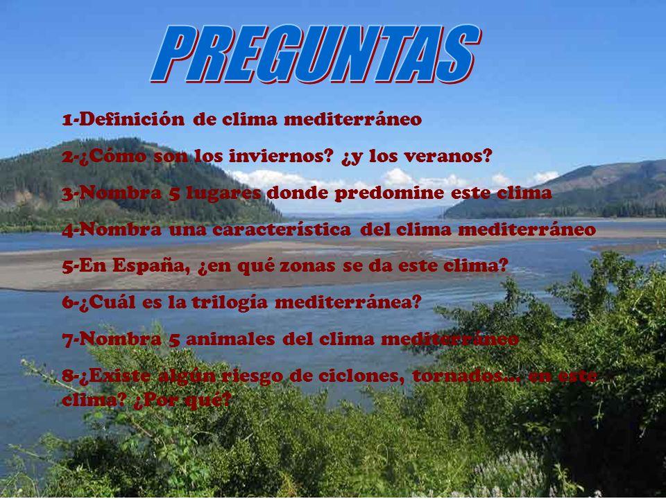 PREGUNTAS 1-Definición de clima mediterráneo