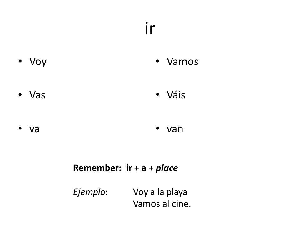 ir Voy Vas va Vamos Váis van Remember: ir + a + place