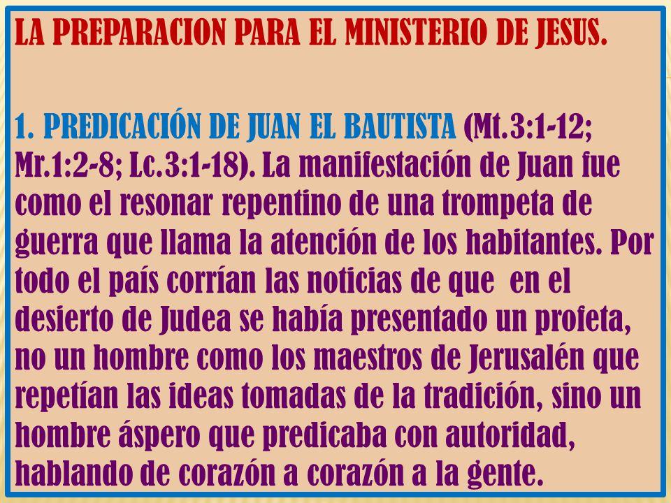 LA PREPARACION PARA EL MINISTERIO DE JESUS.
