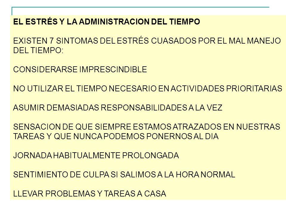EL ESTRÉS Y LA ADMINISTRACION DEL TIEMPO