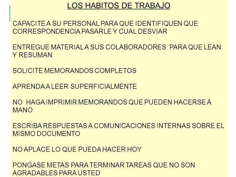 LOS HABITOS DE TRABAJO CAPACITE A SU PERSONAL PARA QUE IDENTIFIQUEN QUE CORRESPONDENCIA PASARLE Y CUAL DESVIAR.