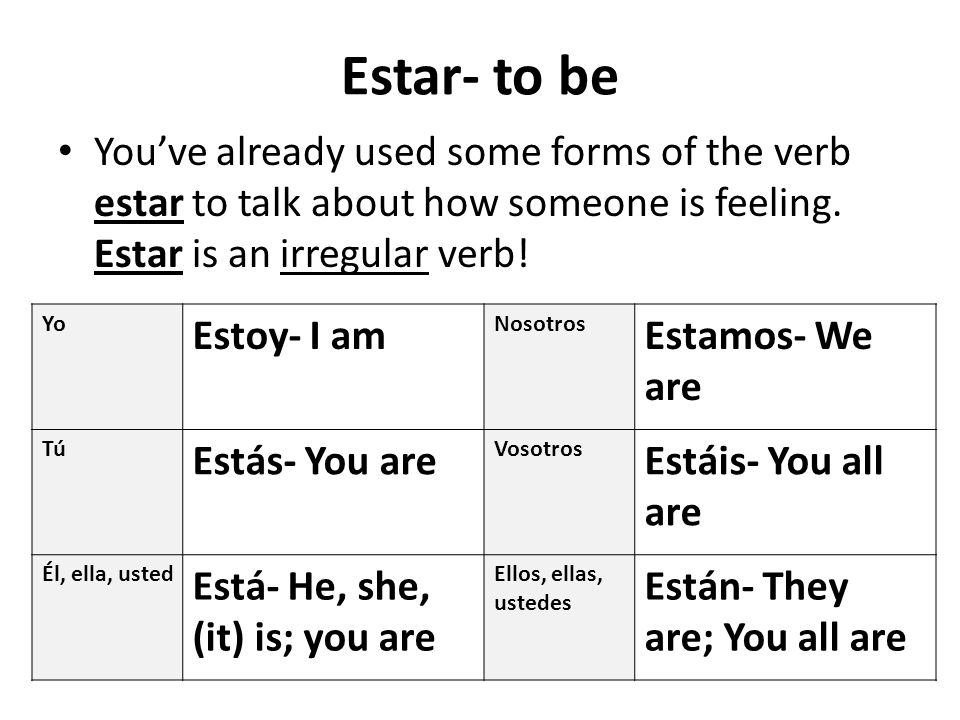 Estar- to be You've already used some forms of the verb estar to talk about how someone is feeling. Estar is an irregular verb!