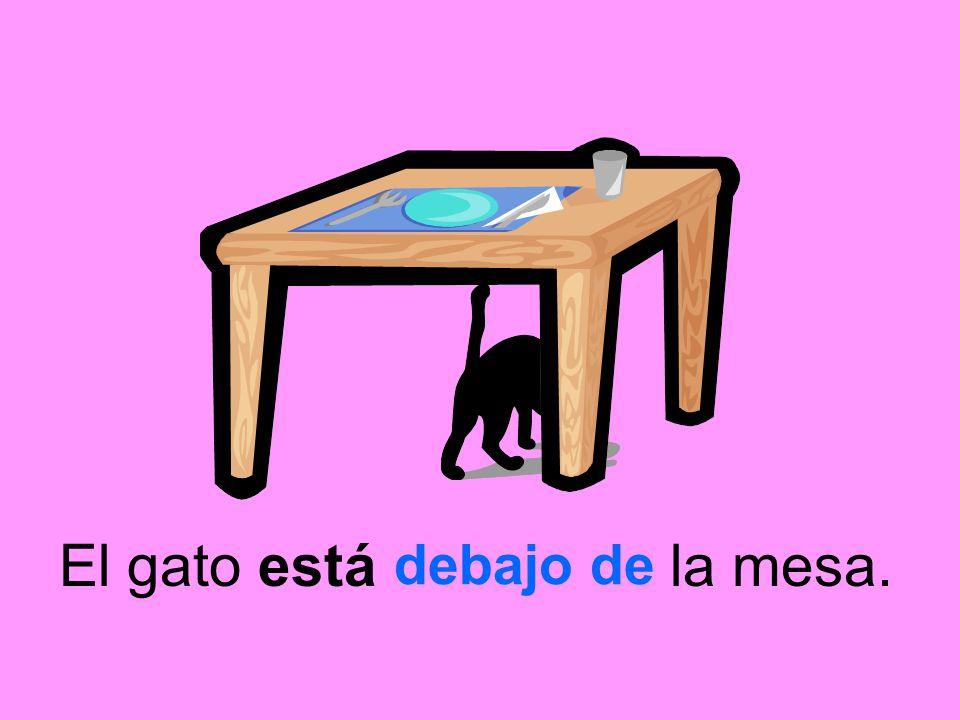 El gato está la mesa. debajo de