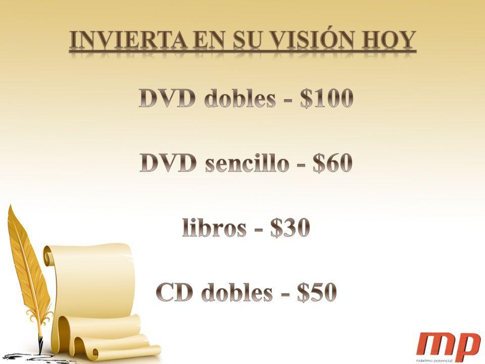 DVD dobles - $100 DVD sencillo - $60 libros - $30 CD dobles - $50