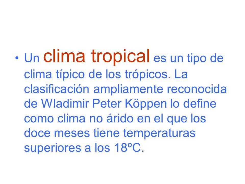 Un clima tropical es un tipo de clima típico de los trópicos