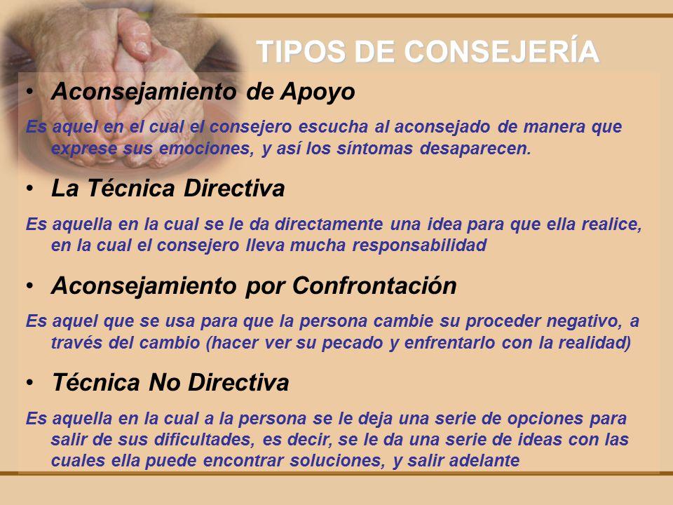 TIPOS DE CONSEJERÍA Aconsejamiento de Apoyo La Técnica Directiva