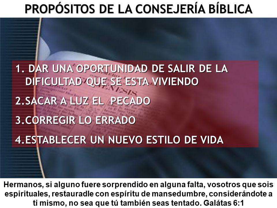 PROPÓSITOS DE LA CONSEJERÍA BÍBLICA