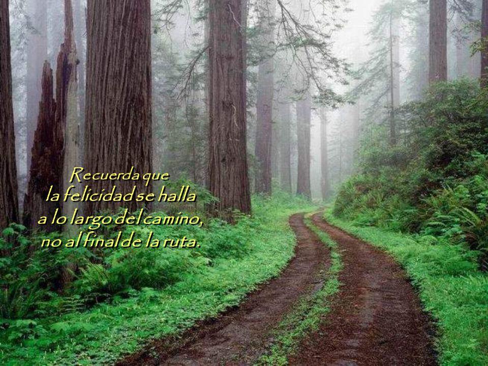 la felicidad se halla a lo largo del camino, no al final de la ruta.