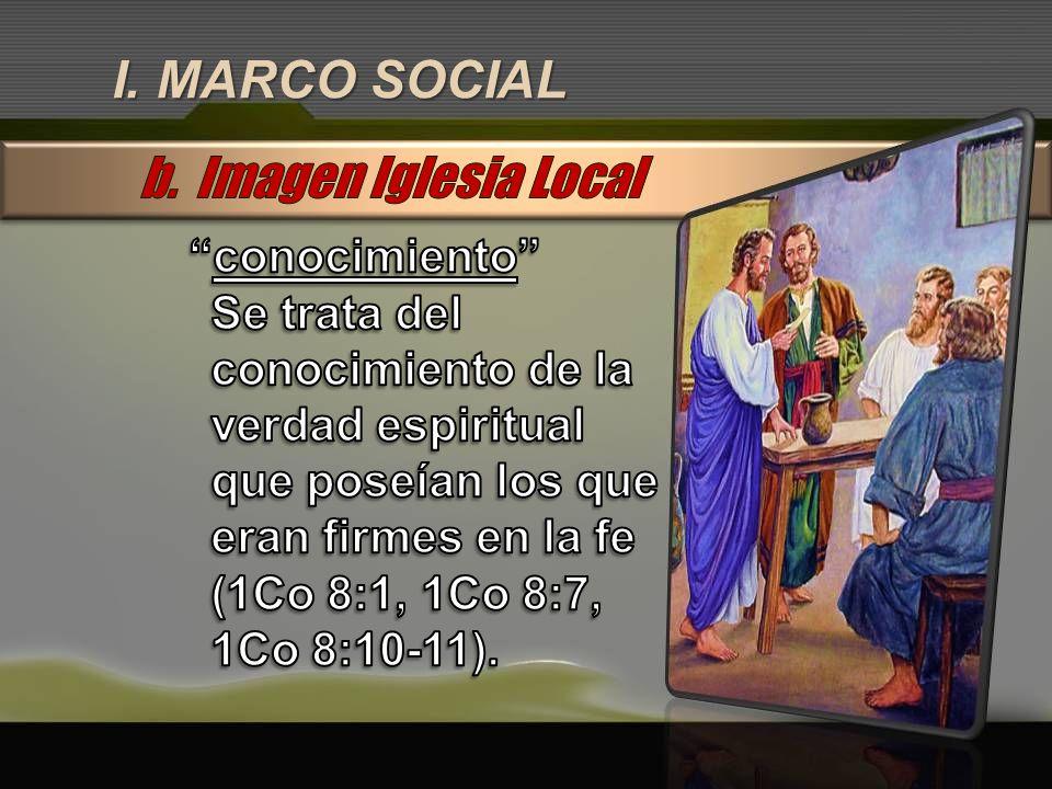 I. MARCO SOCIAL b. Imagen Iglesia Local conocimiento