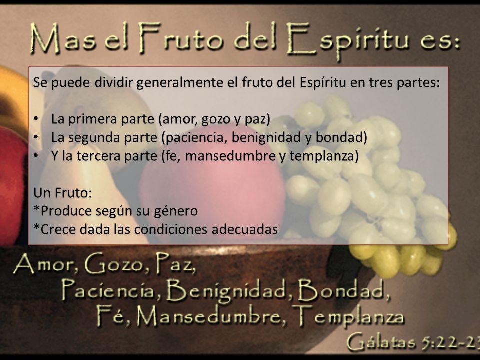 Se puede dividir generalmente el fruto del Espíritu en tres partes: