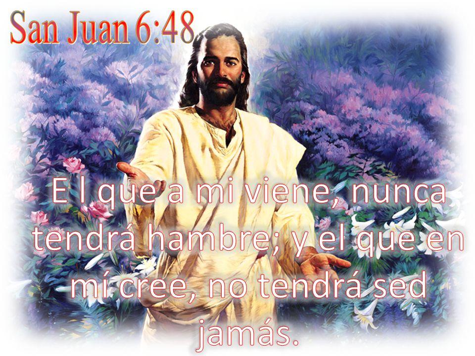 San Juan 6:48 E l que a mi viene, nunca tendrá hambre; y el que en mí cree, no tendrá sed jamás.