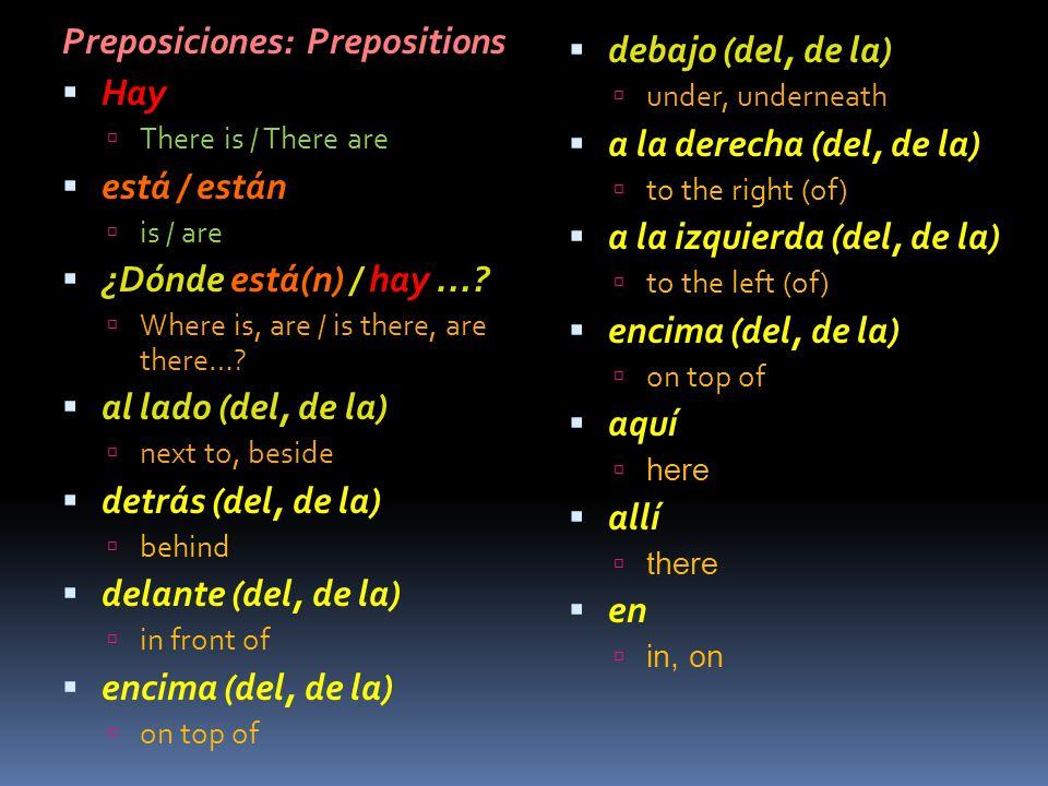 Preposiciones: Prepositions Hay está / están ¿Dónde está(n) / hay …