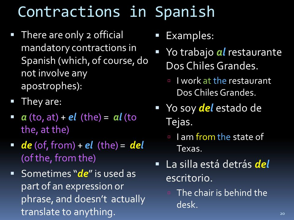 Contractions in Spanish