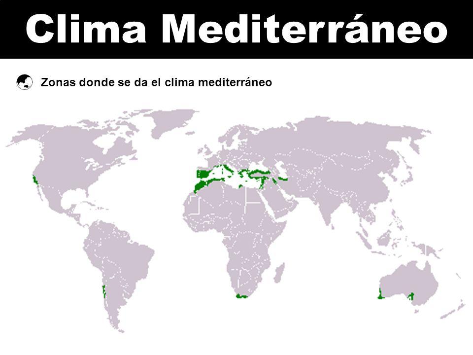 Zonas donde se da el clima mediterráneo