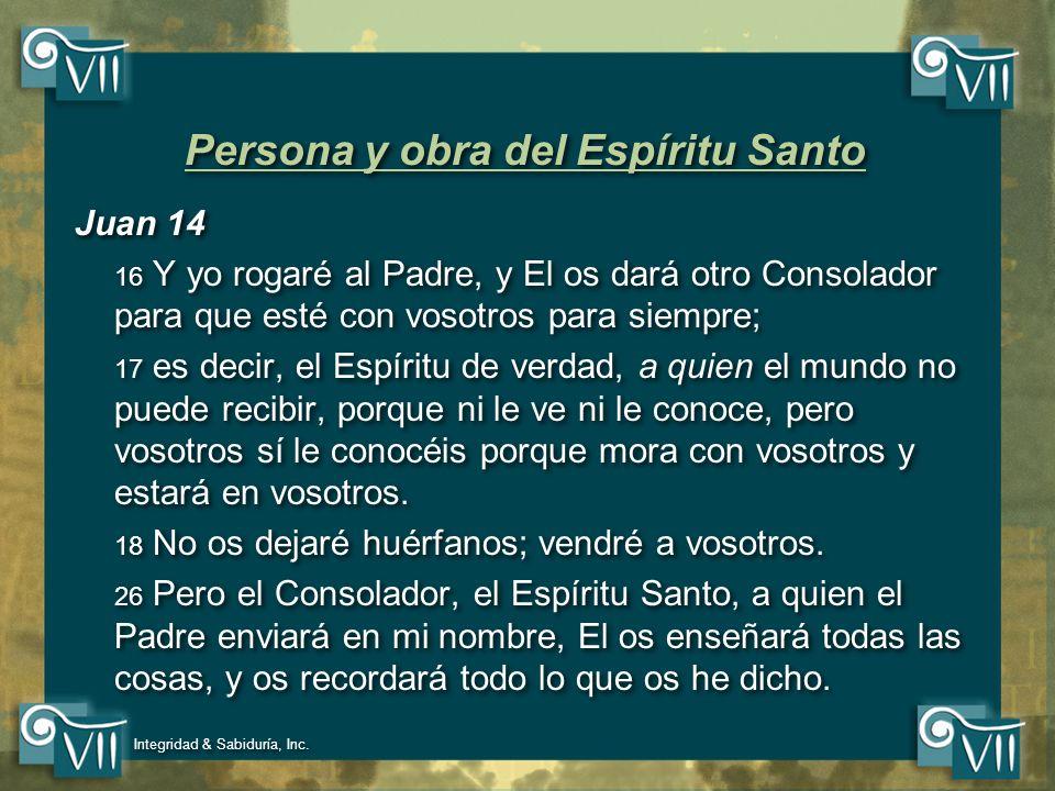 Persona y obra del Espíritu Santo