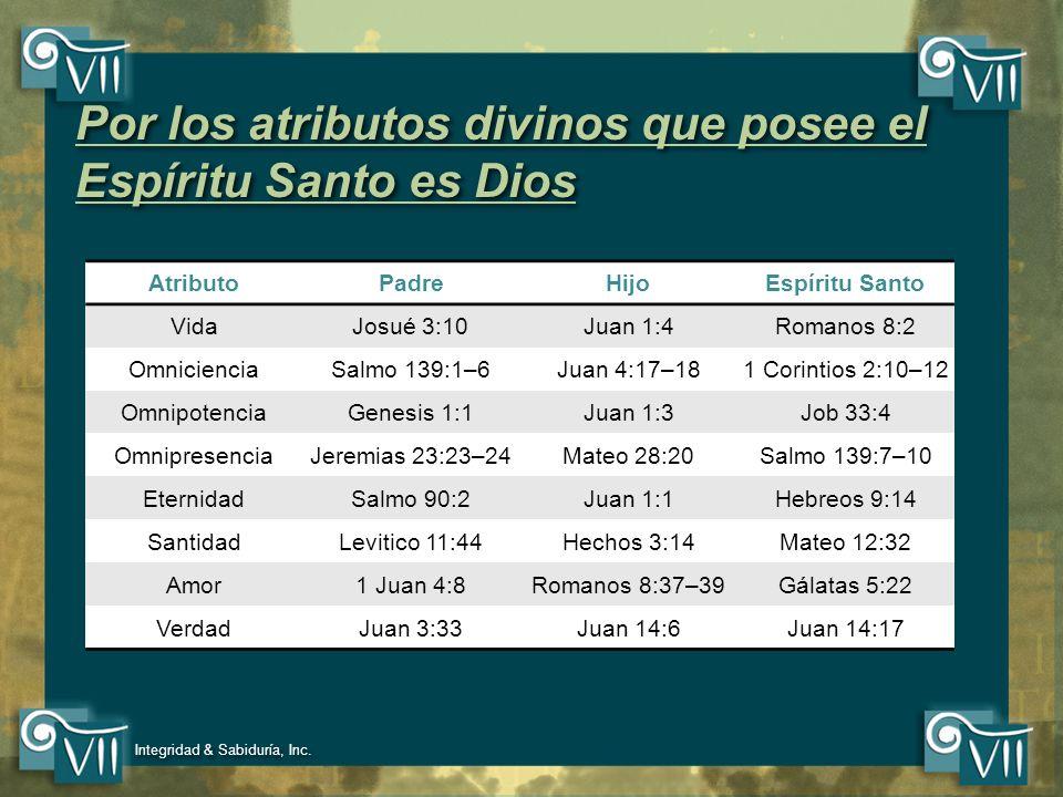 Por los atributos divinos que posee el Espíritu Santo es Dios