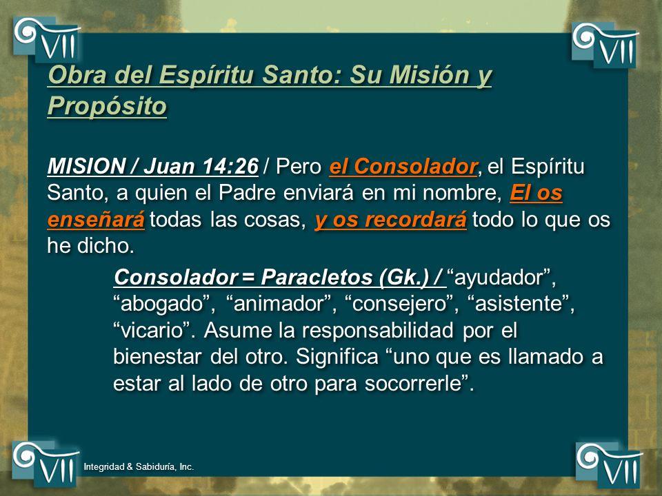 Obra del Espíritu Santo: Su Misión y Propósito