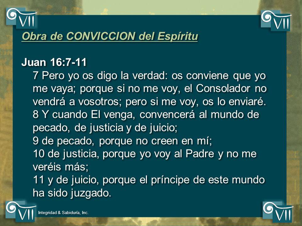 Obra de CONVICCION del Espíritu Juan 16:7-11