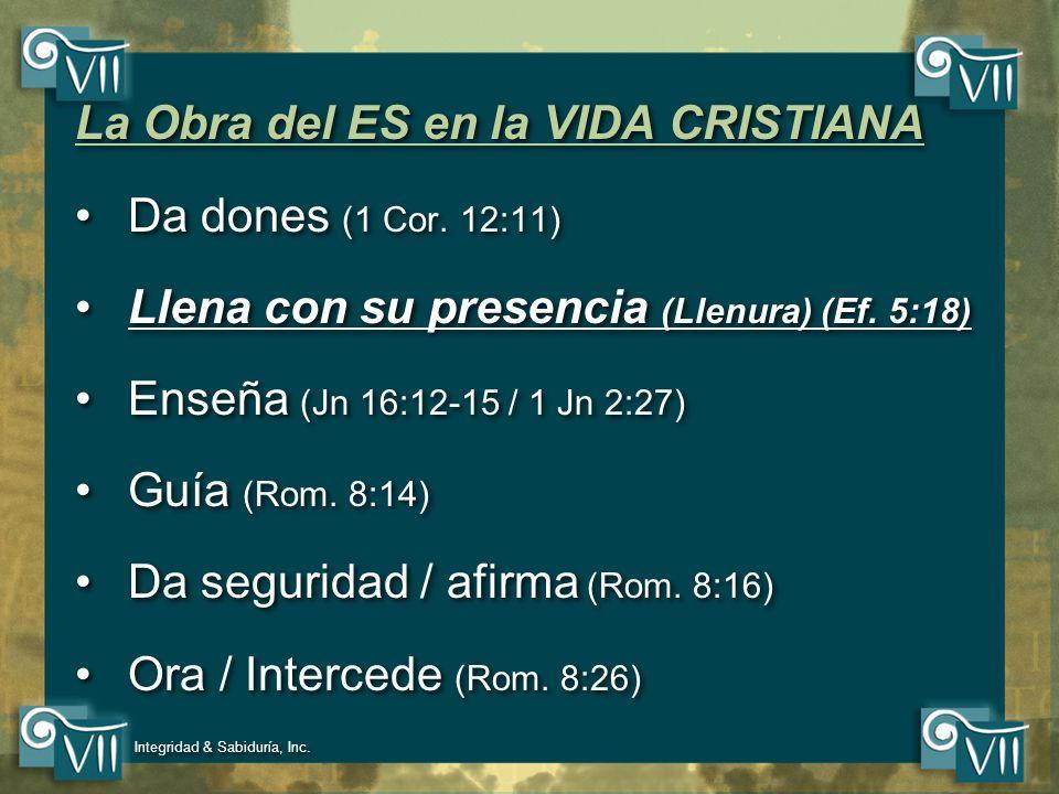 La Obra del ES en la VIDA CRISTIANA Da dones (1 Cor. 12:11)