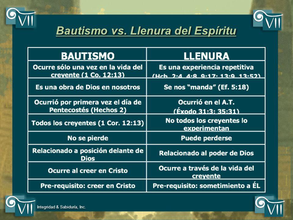 Bautismo vs. Llenura del Espíritu
