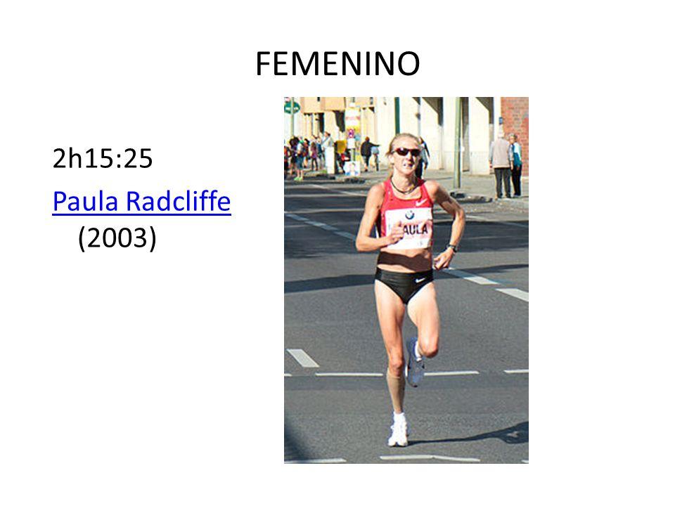 FEMENINO 2h15:25 Paula Radcliffe (2003)