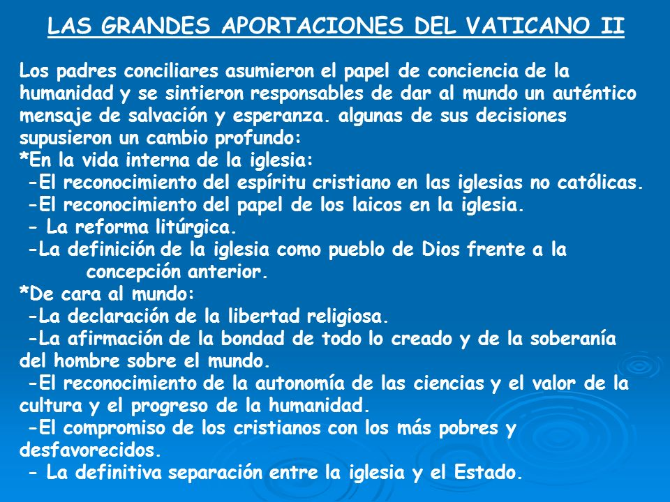 LAS GRANDES APORTACIONES DEL VATICANO II
