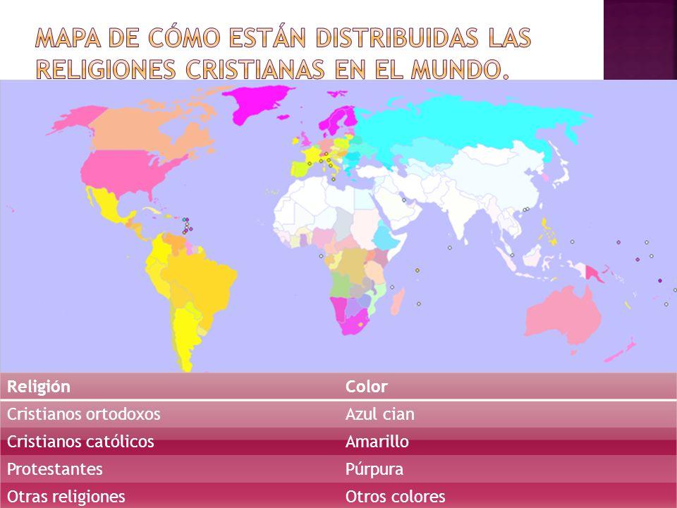 Mapa de cómo están distribuidas las religiones cristianas en el mundo.