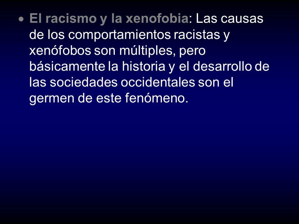 El racismo y la xenofobia: Las causas de los comportamientos racistas y xenófobos son múltiples, pero básicamente la historia y el desarrollo de las sociedades occidentales son el germen de este fenómeno.