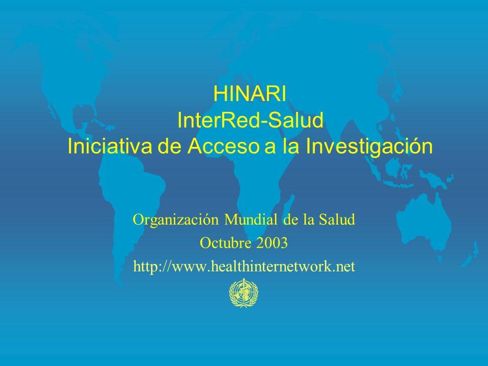 HINARI InterRed-Salud Iniciativa de Acceso a la Investigación