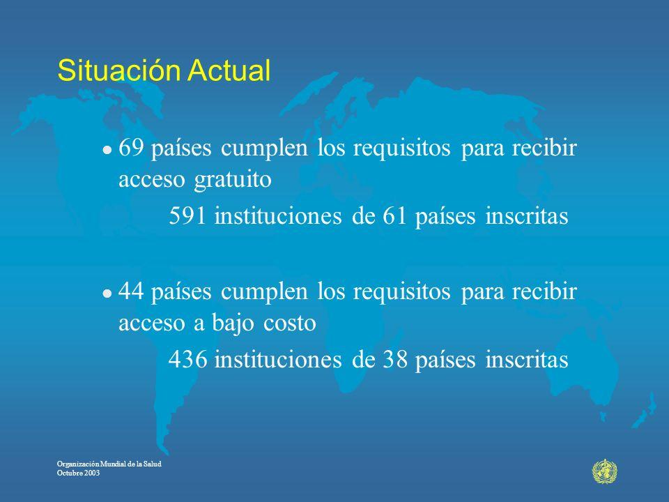 Situación Actual 69 países cumplen los requisitos para recibir acceso gratuito. 591 instituciones de 61 países inscritas.