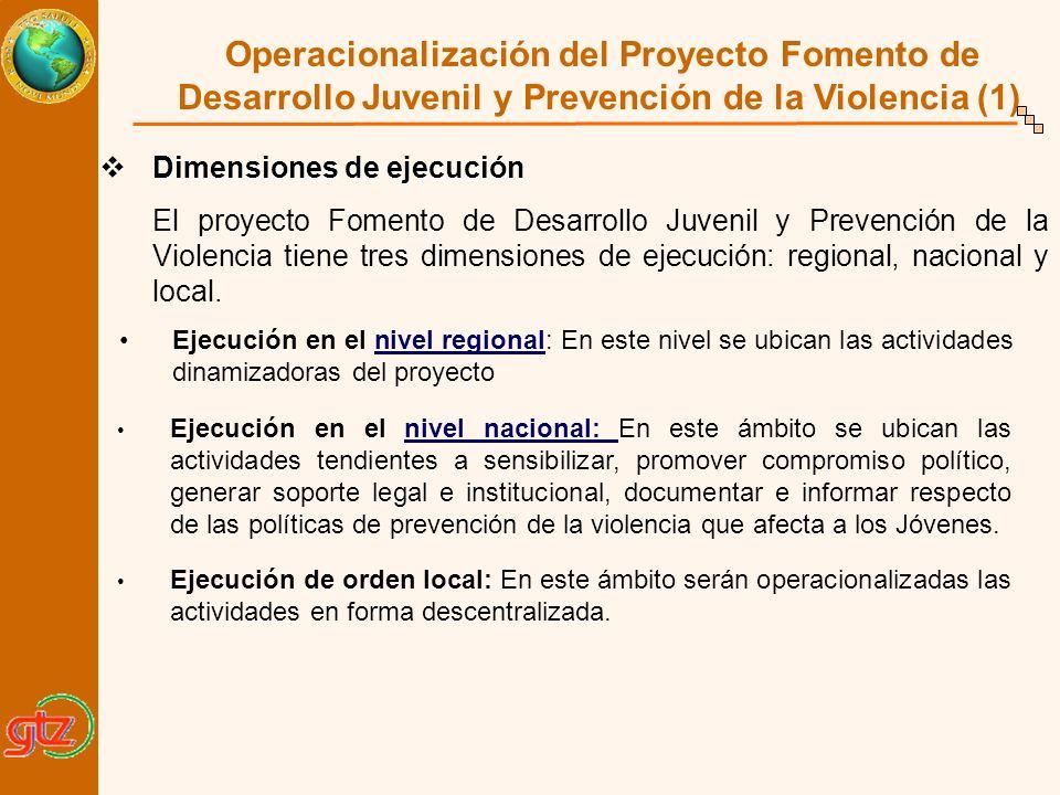 Operacionalización del Proyecto Fomento de Desarrollo Juvenil y Prevención de la Violencia (1)