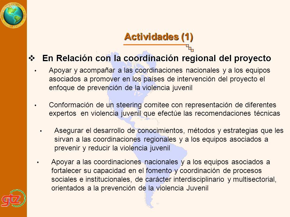 Actividades (1) En Relación con la coordinación regional del proyecto
