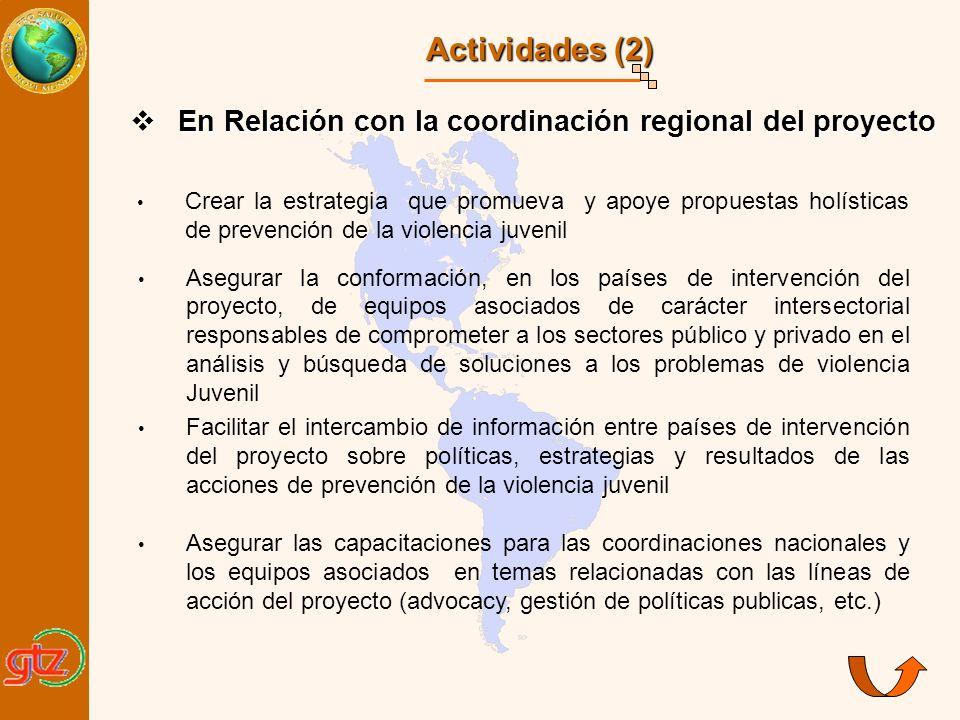 Actividades (2) En Relación con la coordinación regional del proyecto