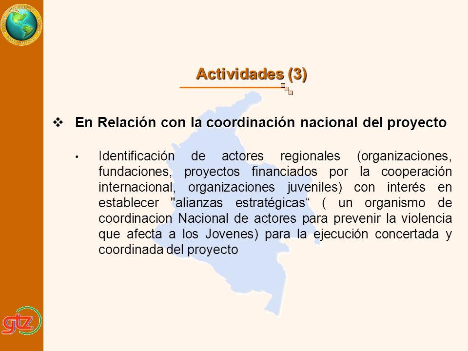 Actividades (3) En Relación con la coordinación nacional del proyecto