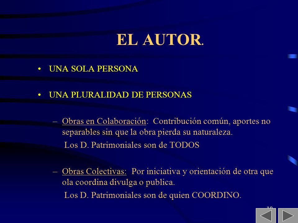 EL AUTOR. UNA SOLA PERSONA UNA PLURALIDAD DE PERSONAS