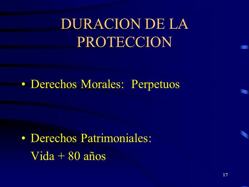 DURACION DE LA PROTECCION