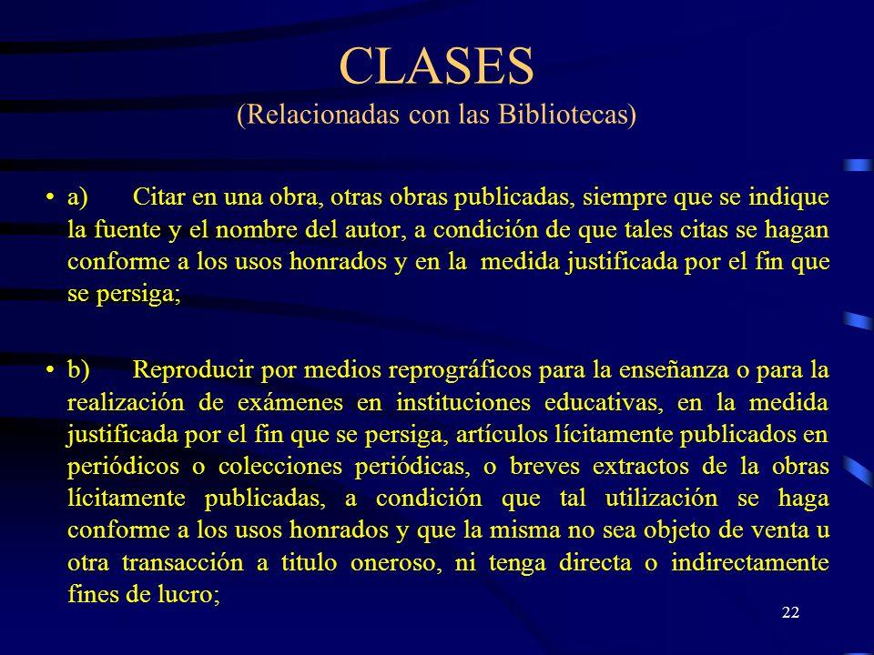 CLASES (Relacionadas con las Bibliotecas)