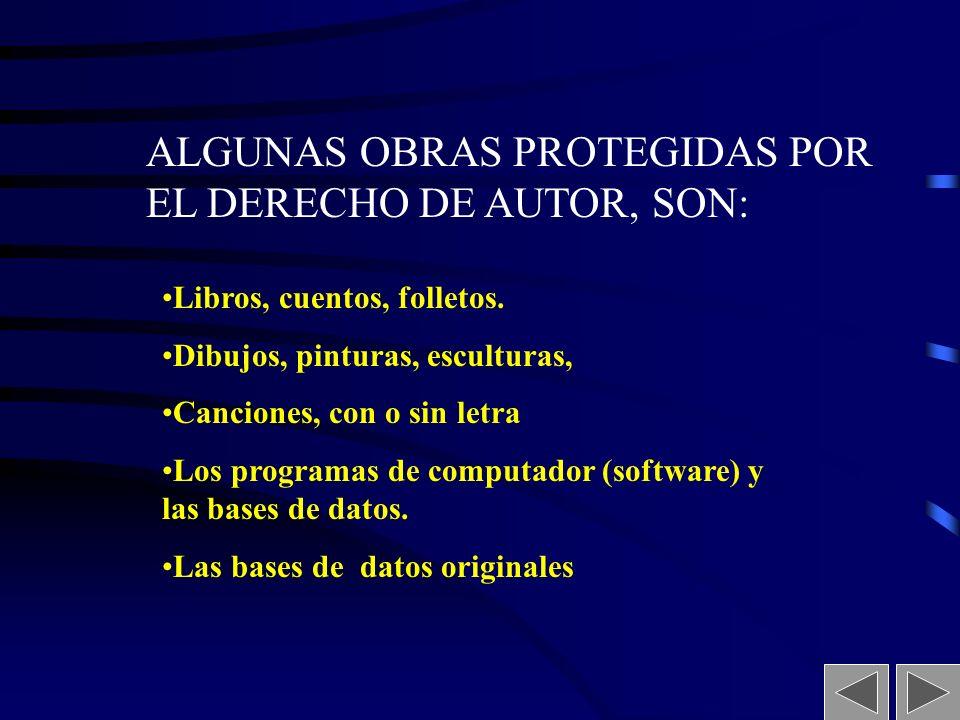 ALGUNAS OBRAS PROTEGIDAS POR EL DERECHO DE AUTOR, SON: