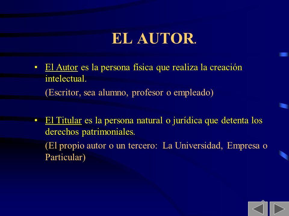 EL AUTOR. El Autor es la persona física que realiza la creación intelectual. (Escritor, sea alumno, profesor o empleado)