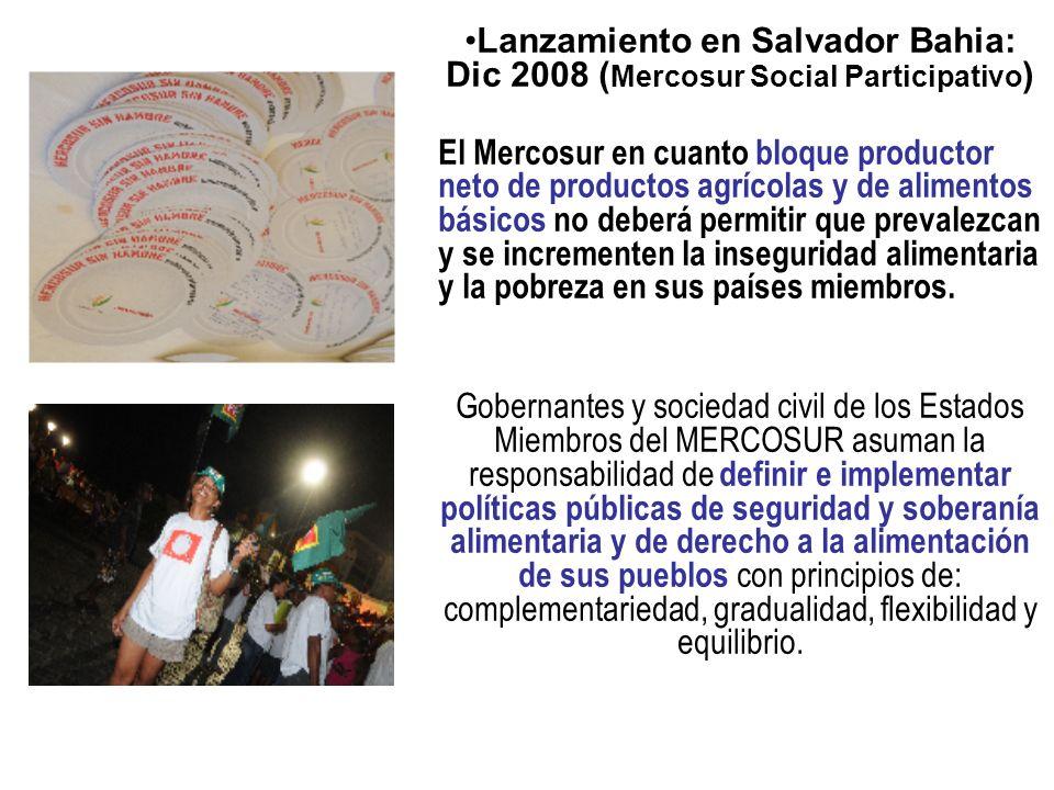 Lanzamiento en Salvador Bahia: Dic 2008 (Mercosur Social Participativo)