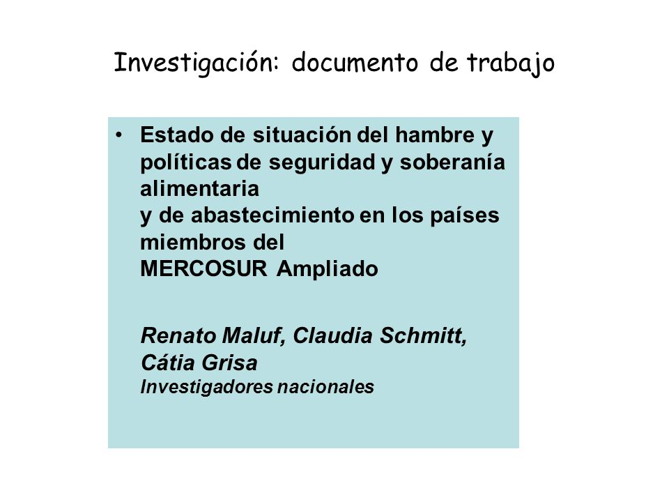 Investigación: documento de trabajo